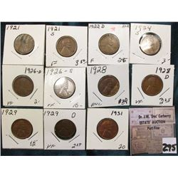 Group of (11) scarcer Lincoln Cents grading VG to AU. Includes 1921P, S, 22D, 24S, 26 D,  S, 28P, D,