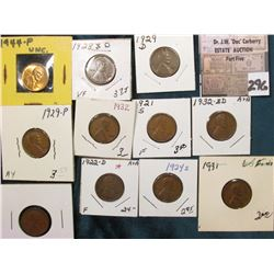 Group of (11) scarcer Lincoln Cents grading VG to AU. Includes 1921S, 22D, 24S, 28D, 29P, D, 31 P, 3