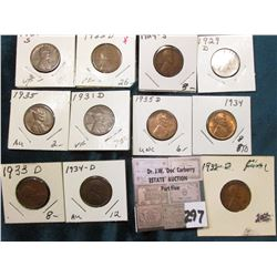 Group of (11) scarcer Lincoln Cents grading VG to AU. Includes 1921S, 22D, 24S, 29D, 31D, 32D, 33D,