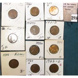 Group of (11) scarcer Lincoln Cents grading VG to AU. Includes 1921S, 22D, 24S, 29D, 31D, 32D, 33P,