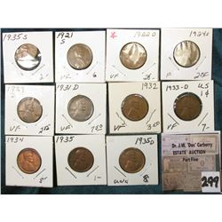 Group of (11) scarcer Lincoln Cents grading VG to AU. Includes 1921S, 22D, 24S, 29D, 31D, 32P, 33D,