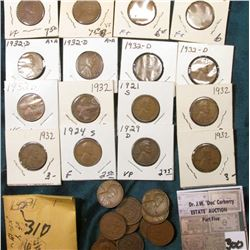 Group of (11) scarcer Lincoln Cents grading VG to AU. Includes 1921S, 29D, (13) 1931D, (4) 32P, (5)