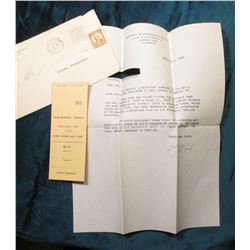 "Depression Scrip: Feb 6, 1935 Letter with name cut-out ""Dear Sir: We enclose a cancelled specimen of"