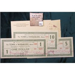 "1935 Postmarked envelope, without letter a set of Depression Scrip $1, $5, & $10 ""The Town of Washbu"