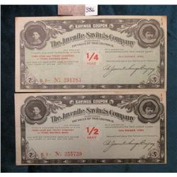 "1/4 Cent & 1/2 Cent ""The Juvenile Savings Company Incorporated"" Des Moines, Iowa Scrip. Serial No. 2"