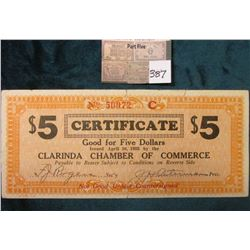 "Depression Scrip: ""Clarinda Chamber of Commerce"" $5 Certificate Serial No. 50072 C. MS #:  IA220-5A"