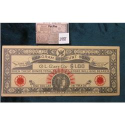 1934 C.L. Carr Co. $1 Depression Scrip Anagram Discount Bond. Batavia, N.Y. CU.