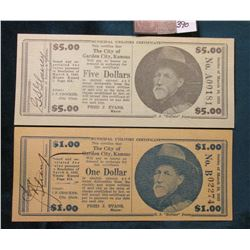 March 10, 1933 Depression Scrip $1.00 Unknown & $5 Unlisted, City:  Garden City, Kansas. Issuer:  Mu