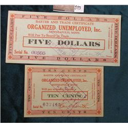 1932 Minneapolis, Minnesota Depression Scrip. MS #:  MN175-.10A & MN175-5, Issuer:  Organized Unempl
