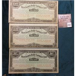 ".50c, $1.00, & $5.00 ""Merchants Daily Savings Club"" One Cent, Two Cent, & Ten Cent Unlisted Depressi"