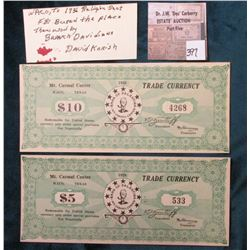 1938 Waco, Texas $5 & $10 Scrip Mt. Carmel Center, David Koresh's Branch Davidian home before the BA