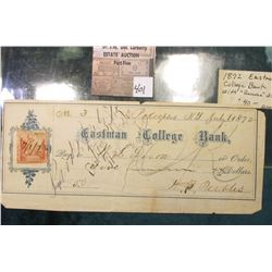 July 1, 1872. Eastman College Bank, Poughkeepsie Check with 2c Revenue Stamp attached. Considered a