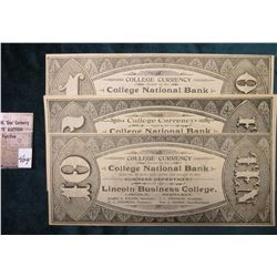 "$1, $5, & $10 ""College Currency Issued by the College National Bank Good For all Debts Both Public a"