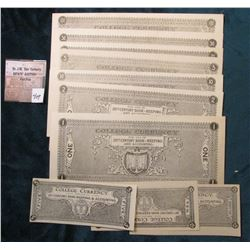 "9-Pc. Set of ""College Currency For Use in 20th Century Book-Keeping & Accounting"". .05c, .10c, .25c,"