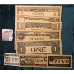 "11-Pc. Type One Set ""College Currency For Use in Business Practice"" .05c,  .10c, .25c, .50c, $1.00,"
