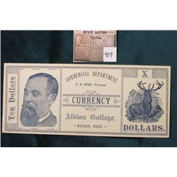 "Albion College Currency.Printed with blue ink on white paper, the face side states, ""Commercial Depa"