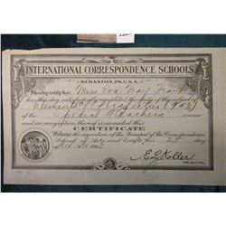 "25th Day of October, 1913 ""International Correspondence Schools Scranton, Pa. U.S.A."" Completion Cer"