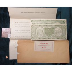 "Transaction Sheet and $20, $50, & $100 ""For Use In 20th Century Bookkeeping & Office Practice"" Colle"