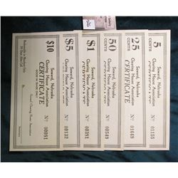 6 piece Set. 5c, 25c, 50c, $1, $5, & $10 Seward Nebraska clearing house association certificate good