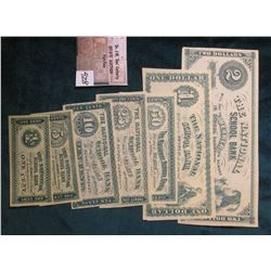 "Eight-Piece Set ""The National School Bank Will Pay to Bearer on Demand in School Currency…"" One Cent"