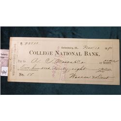 """Western Business College Galesburg, Ill. Nov. 13th, 1890 Check Payable in College Currency""."