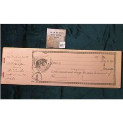 Pad of Checks with Register, first date is Feb.15, 1898. Checks depict a bear and can be drawn on Co
