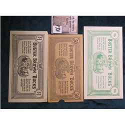 "Three-piece Set of Buster Brown ""Bucks"" .10c, .50c, & $1.00. From ""McNeil 911 So. 8th St."" & ""Bradle"