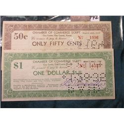 "1933 era Depression Scrip ""Chamber of Commerce Script Clay Center, Clay County, Kansas"" $1.00 & .50c"