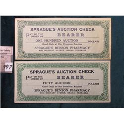 """Sprague's Auction Check Pay to the Order of Bearer… Sprague's Benson Pharmacy 6103 Military Avenue,"