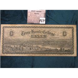 "$100 ""C"" Note ""Terre Haute College Bank"" ""Main Hall of Terre Haute Commercial College Isbell & Mille"