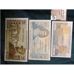 1947 Three-piece Set of French Equatorial Africa Saint-Pierre-Et-Miquelon 5, 10, & 20 Francs Bank no