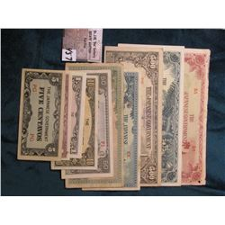 (10) Different World War II Japanese Invasion Money - S.E. Asia.