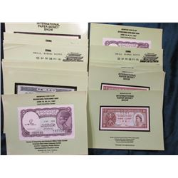 Group of (24) Foreign Bank notes in holders from the International Paper Money Shows. All Crisp Unc