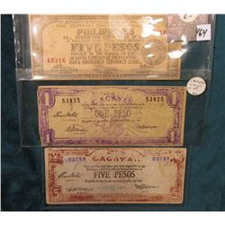(3) Different World War II Philippines Islands Guerilla Bank notes, includes: 1 & 5 Peso Cagayan & 5
