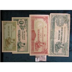 Four-Piece Set of World War II Japan-Burma Banknotes.