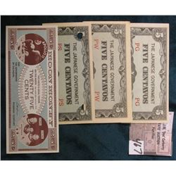 "(3) Different Serial Number WW II Philippines Occupation ""The Japanese Government Five Centavos"" Ban"