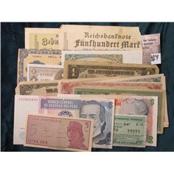 Hodge-podge of (15) Different Foreign Banknotes, Scrip, and etc.