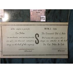 "Rare Unknown and Unlisted Rake, Iowa Depression Scrip. Bill No. 1  129. ""The Commercial Club of Rake"