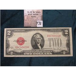 "Series 1928 G $2 United States Note. Micro face No. E487, Micro back 321,  ""Red Seal"", VF."