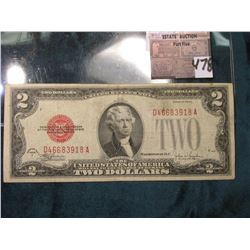 "Series 1928 F $2 United States Note. Micro face No. F442, Micro back 321,  ""Red Seal"", Fine."