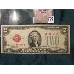 "Series 1928 D $2 United States Note. Micro face No. D307, Micro back 303,  ""Red Seal"", Fine."