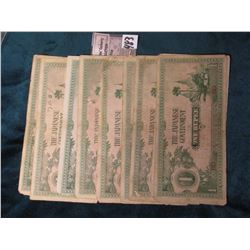 (10) Myanmar (Burma) ND (1942) Japanese Occupation, WW II One Rupees Bank Notes. Pick # 14. Various