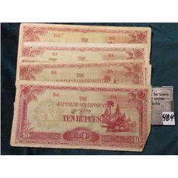 (5) Myanmar (Burma) ND (1942-44) Japanese Occupation, WW II Ten Rupees Bank Notes. Pick # 16. Variou