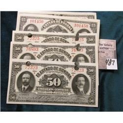 (7) 1.1.1915 Mexico/Revolutionary War Sonora 25 Centavos. Decree #13 of August 27,1913 Bank Notes EF