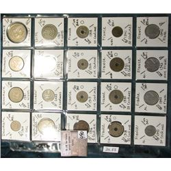 "(20) World Coins in a Plastic Page, identified in 2"" x 2""s. Includes Denmark, Domnican Republic, Ecu"