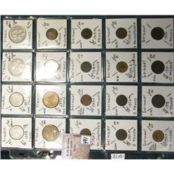 "(20) World Coins in a Plastic Page, identified in 2"" x 2""s. Includes France & Germany. KM Value $21."