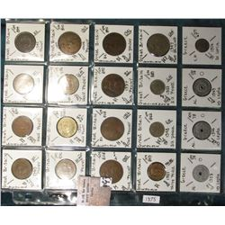 "(20) World Coins in a Plastic Page, identified in 2"" x 2""s. Includes Great Britain & Greece. KM Valu"