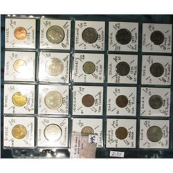 "(20) World Coins in a Plastic Page, identified in 2"" x 2""s. Includes Greece, Haiti, Honduras, Hungar"
