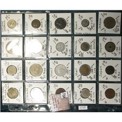 "(20) World Coins in a Plastic Page, identified in 2"" x 2""s. Includes Indo China, Iran, Ireland, Ital"