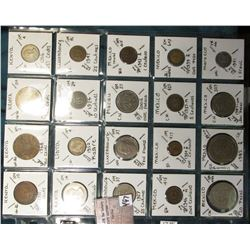 "(20) World Coins in a Plastic Page, identified in 2"" x 2""s. Includes Kenya, Libya, Luxembourg, Macau"